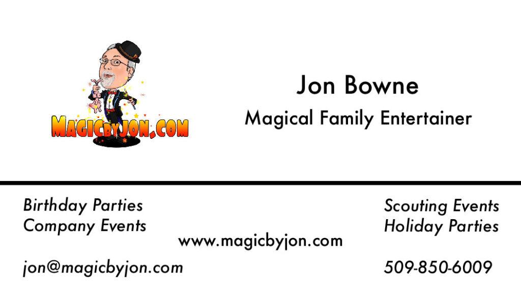 Magic By Jon Business Card.